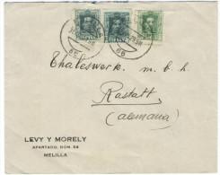 SPAGNA - ESPAÑA - Spain - Espagne - 1929 - 2 X 15 + 10 - Viaggiata Da Melilla Per Rastatt, Germany - 1889-1931 Regno: Alfonso XIII