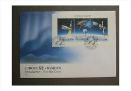 ASTRONOMY ASTRONOMIE SPACES WEDEN SUEDE SCHWEDEN 1991 EUROPA CEPT FDC Aurora Borealis MI 1663 - 1665 - Astronomy