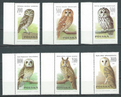 Poland 1990, MiNr 3294-3299 ** MNH With Margins; Owls, Birds - 1944-.... République