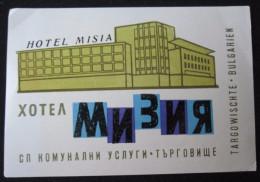 HOTEL CAMPING PENSJONAT MISC BALKAN MISIA TARGOWISCHTE BULGARIEN BULGARIA BULGARIE LUGGAGE LABEL ETIQUETTE DECAL STICKER - Hotel Labels
