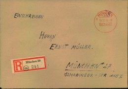 1945, Ortseinschreiben MÜNCHEN 50 BEZAHLT, Heimat Bayern - Allemagne