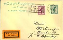 """1927, """"Durch Flugpost Mit Erstflug Lübeck-Hamburg"""" - Deutschland"""