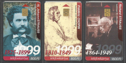 Hungary,  Johann Strauss II,  Richard Strauss and  Fr�d�ric Chopin,  1999,(lot of 3 cards).