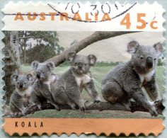 N° Yvert 1365 - Timbre D'Australie (1994) - U (Oblitéré) - Koala - Famille De Koalas (DA)