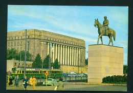 FINLAND  -  Helsinki  Parliament Building And Mannerheim Statue  Unused (except For A Few Words/date) Postcard As Scan - Finland