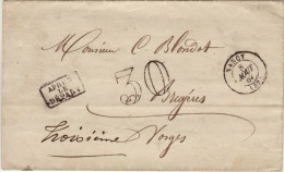 MEURTHE ET MOSELLE - Nancy- Lettre  -CAD- Type15-taxe30+ALD- 1867 - 1849-1876: Classic Period