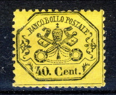 Stato Pontificio 1868, N. 29 C. 40 Giallo Limone MH Varietà Cornice Spezzata Cat. € 18 - Stato Pontificio