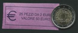ITALIA 2015 - ROLL 2 EURO COMM. 30 ANNI BANDIERA  ORIGINALE ZECCA - DATA VISIBILE - FDC - Rotolini