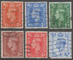 Great Britain. 1950 KGVI New Colours. Used Complete Set Of 6 Values To 4d SG 503-508. - 1902-1951 (Kings)