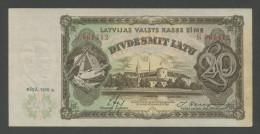 LATVIA - 20 Latu  1936  P30b  Uncirculated  ( Banknotes ) - Lettonie