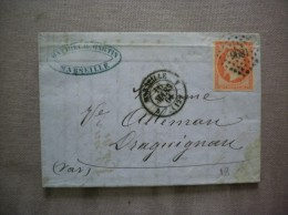 MARSEILLE 16 MARS 61 TIMBRE NAPOLEON III 40c PETIT CACHET 1896 COURRIER MATHIEU & MARTIN MARSEILLE - Marcophilie (Lettres)