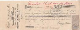 Lettre Change 8/2/1890 CHANDELIER Ex MULOT Vins Rhums Tafias LE HAVRE Seine Maritime Pour Doulevant 52 - Lettres De Change