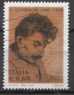 ITALY 2008 Birth Centenary Of Giovannino Guareschi (journalist, Cartoonist And Humorist) - 60c  Giovannino Guareschi  FU - 6. 1946-.. Repubblica
