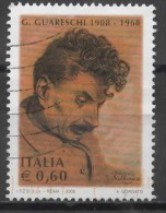 ITALY 2008 Birth Centenary Of Giovannino Guareschi (journalist, Cartoonist And Humorist) - 60c  Giovannino Guareschi  FU - 6. 1946-.. República