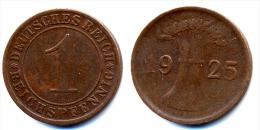 1925 Germany 1 Pfennig Coin - 1 Rentenpfennig & 1 Reichspfennig