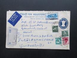Indien 1972. Schöne Mischfrankatur! Par Avion / Luftpost. Registered Letter. Refugee Relief. In Die Schweiz - Briefe U. Dokumente