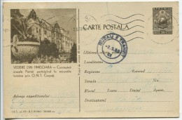 Sight In Timisoara (Publicity For O.N.T. Carpati) - PC Stationery (stamp : The Romanian Coat Of Arms) - Vakantie & Toerisme