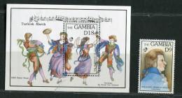 Gambie ** Bloc 166 Et Timbre N° 1254   - Bi-centenaire De La Mort De Mozart - Gambia (1965-...)