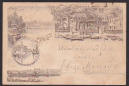 DR 1896 Karte Halle (Saale)  Nach Königstein (Elbe) Restaurant Gaststätte Carl Kurzhals Rabeninsel - Halle (Saale)