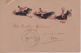 POSTAL HECHA A MANO DE UNOS GALLOS VOLANDO DEL AÑO 1902 (GALLO-COQ) (MANUAL) - Pájaros
