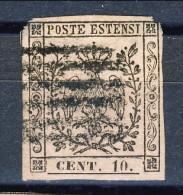 Modena 1852, Punto Dopo Le Cifre, N. 9 C. 10 Rosa Usato, Annullo A 6 Sbarre. Difettoso Cat. € 125 - Modena
