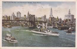 POSTAL DE UN BARCO EN NEW YORK - SKYLINE AND BROOKLYN BRIDGE - EAST RIVER DEL AÑO 1920 (BARCO-SHIP) - Comercio