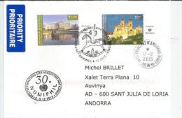 NUMIPHIL. Palais Du Belvédère De Vienne & Abbaye De Melk, Sur Lettre Adressée En Andorre - Centre International De Vienne
