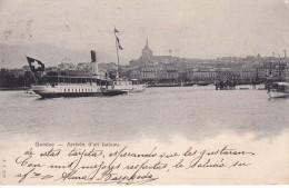 POSTAL DE GENEVE DE ARRIVEE D'UN BATEAU DEL AÑO 1902 (BARCO-SHIP) - Comercio