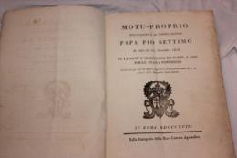 MOTU PROPRIO PAPA PIO SETTIMO DU 25 NOVEMBRE 1818 SU LA SANITA MARITTIMA DE PORTI - Livres Anciens