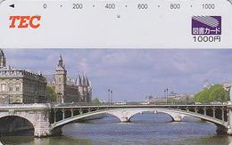 RARE Carte Prépayée Japon - Site FRANCE - PARIS - CONCIERGERIE PONT Sur La SEINE - Japan Prepaid Card Bridge - 1021 - Paisajes