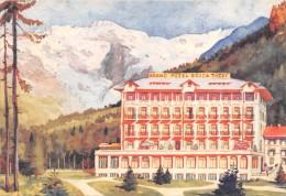 """03246 """"(AOSTA) GRESSONEY - LA TRINITE´ - GRAND HOTEL BUSCA TREDY""""   CART.  DIPINTA SPED. 1961 - Alberghi & Ristoranti"""