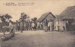 BELGISCH KONGO - Rassemblement Pour Le Travail, Ak Mit 5 C Ganzsache, Um 190? - Belgisch-Kongo - Sonstige