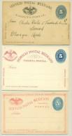 Mexico - Approx 1890 - 3x 5 Centavos Servicio Postal Mexicano - Carte Postale - Mexico