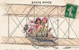 512Cc  Illustrateur Chagny Algerie Ali Et Aïcha Sur L'aeroplane Avion - Chagny