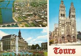 37. CPSM. Indre Et Loire. Tours. Vue Générale Sur La Loire Et La Ville, L'Hôtel De Ville, La Cathédrale Saint-Gatien - Tours