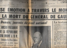 Journaux D'époque LE FIGARO 11 Novembre 1970, 12 Novembre 1970, 13 Novembre 1970 évoquant La Mort Du Général De Gaulle - Historical Documents