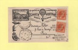 Vol Par Ballon - Luxembourg Destination Paris - 8 Sept 1927 - Postmark Collection (Covers)