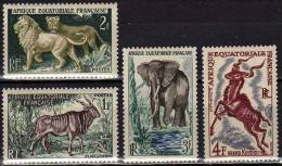WWF Tiere 1957 Französische Kolonie Äquatorial Guinea 305/8 ** 3€ Afrikan.Elefant Löwe Antilope Kudu Fauna Set Of Africa - Französisch-Guinea (1892-1944)