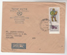 1961 ISRAEL COVER  To FINLAND  Air Mail  0.25 HEROES, LION  Stamps - Israel