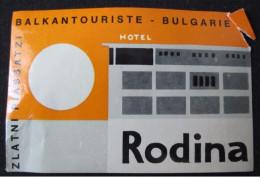 HOTEL CAMPING SPA BALKAN INN RODINA ZLATNI PIASSATZI BULGARIEN BULGARIA BULGARIE LUGGAGE LABEL ETIQUETTE DECAL STICKER - Hotel Labels