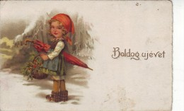 #5226 Hungarian New Year Greetings Embossed Postcard Mailed 1925: Little Red-Cap With Umbrella And Basket With Flowers - Anno Nuovo