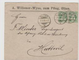CH061a / Paar 5 Rp. Im Ziffernmuster 1903, Olten Nach Huttwil - 1882-1906 Armarios, Helvetia De Pie & UPU