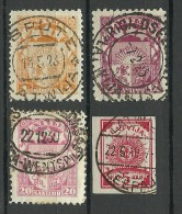 LETTLAND Latvia 1920-1940 = 4 Marken Gut Gestempelt Perfect Cancels - Lettonie