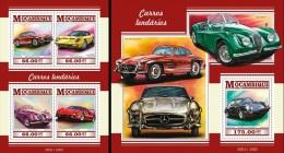 Mozambico 2015, Cars, Ferrari, Porshe, Lamborghini, Mercedes, Jaguar, 4val In BF +BF  IMPERFORATED - Trains