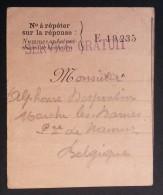 Correspondance Service Gratuit Août 1915 Vers Marche Les Dames Belgique - WW I