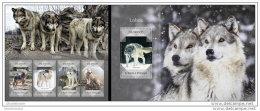SAO TOME 2014 ** M/S + S/S Wolfs Wölfe Loup Lopos A1445 - Dogs