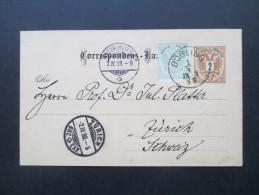 Österreich 1888 Ganzsache P43 / Ferchenbauer (KW 30€) Nr. 28 Auslandsverwendung Nach Zürich Mit Zusatzfrankatur - Entiers Postaux