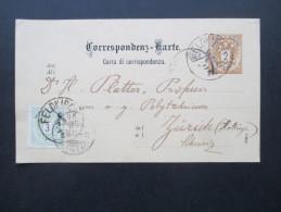 Österreich 1886 Ganzsache P45a / Ferchenbauer (KW 30€) Nr. 30 Auslandsverwendung Nach Zürich Mit Zusatzfrankatur - Entiers Postaux