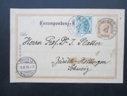 Österreich 1895 Ganzsache P74 / Ferchenbauer (KW 20€) Nr. 59 Auslandsverwendung Nach Zürich Mit Zusatzfrankatur - Entiers Postaux