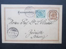Österreich 1892 Ganzsache P74 / Ferchenbauer (KW 20€) Nr. 59 Auslandsverwendung Nach Zürich Mit Zusatzfrankatur - Entiers Postaux
